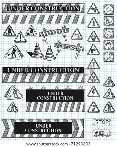 big set of under construction and fire safety doodles. - stock vector