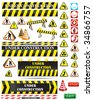 big set of under construction and fire safety signs and symbols - stock photo