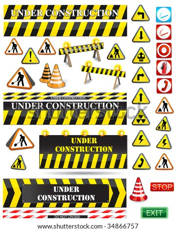 big set of under construction and fire safety signs and symbols - stock vector