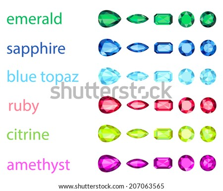 big set of variety gemstone. EPS10, no gradient, no transparency - stock vector