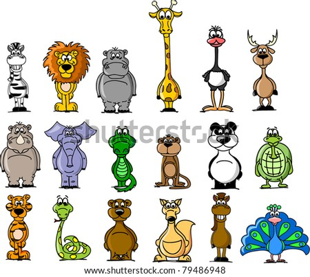 Big set of various cartoon animals - stock vector