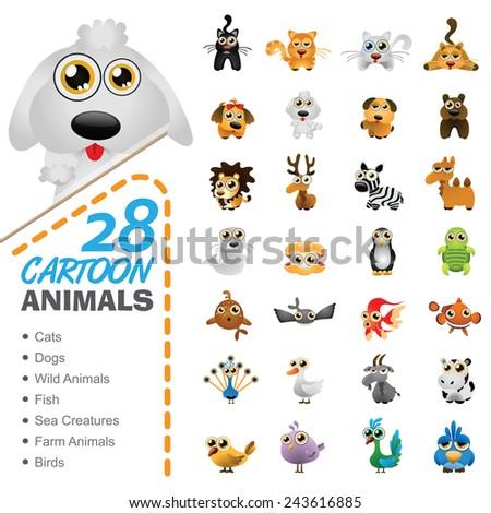 Big set of various cartoon animals and birds - stock vector