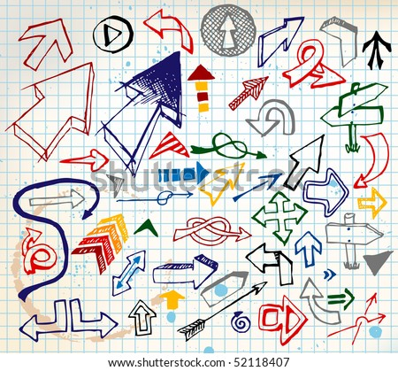 Big set of various colorful doodle arrows on a squared paper - stock vector