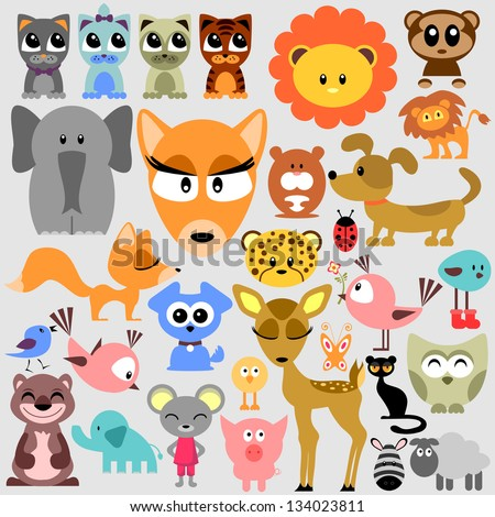 Big set of various cute animals - stock vector