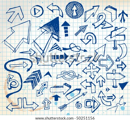 Big set of various doodle arrows on  a squared paper - stock vector