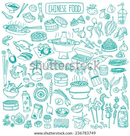 Big set of various doodles, hand drawn rough simple Chinese cuisine food sketches. - stock vector