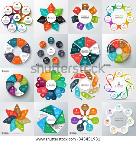 Big set of vector arrows, heptagons, circles and other elements for infographic. Template for cycle diagram, graph, presentation. Business concept with 7 options, parts, steps or processes. - stock vector