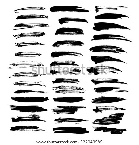 Big set of vector brush strokes texture thick black paint isolated on a white background