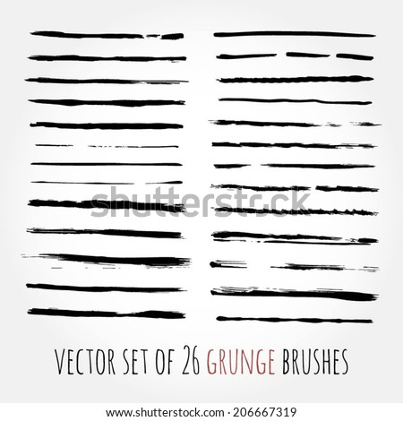 Big set of vector brushes. Abstract hand drawn ink strokes. Grunge ink and watercolor brushes for your design. Vector eps 10 - stock vector