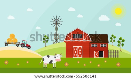 Big set of vector farm elements and ecology background