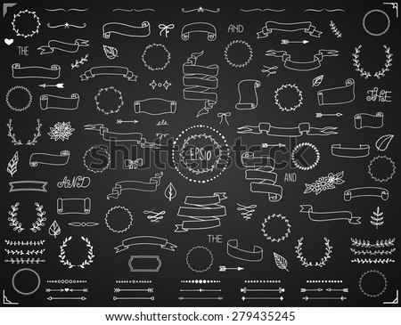 Big set of vector hand-drawn banners, frames, dividers and design elements. Vector eps10. - stock vector