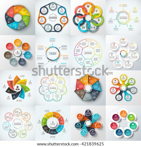 Big set of vector heptagons, circles and other elements for infographic. Template for cycle diagram, graph. Business concept with 7 options, parts, steps. - stock vector