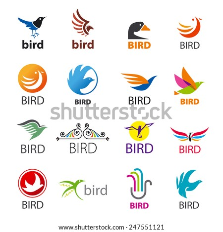 big set of vector icons birds - stock vector