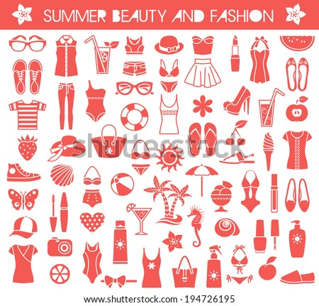 Big set of vector icons for summer fashion, beauty and relaxation - stock vector
