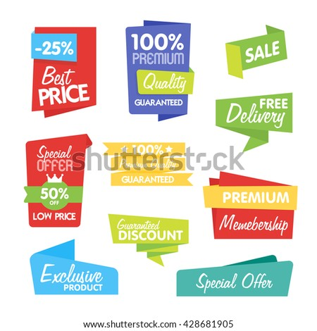 Big Set of Vector Label, Sticker, Tags. Collection Colorful Abstract Label and Sticker. Blank Label of Modern Style. Best seller, eco product, quality and other icon. - stock vector