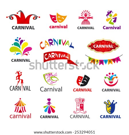 big set of vector logos carnival - stock vector