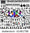 Big set of vector people silhouettes - stock vector