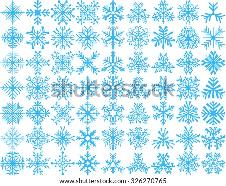 Big set of 63 vector snowflakes. Winter design element. - stock vector