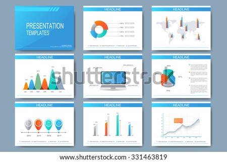 Big set of vector templates for presentation slides. Modern business design with graph and charts. - stock vector