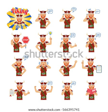 Big set of viking emoticons showing different actions, gestures, emotions. Cheerful viking talking on phone, holding stop sign, reading a book and doing other actions. Simple vector illustration