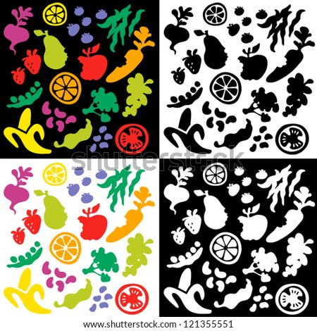 big set of whimsical fruit and vegetable silhouettes - stock vector