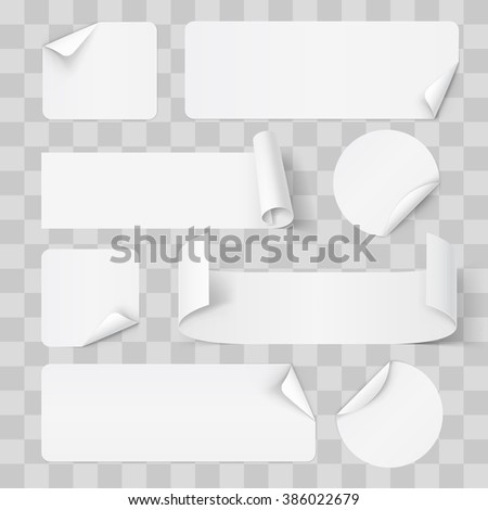 Big Set of White Paper Stickers on Transperent Background - stock vector