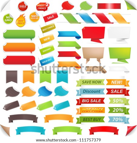 Big Set Speech Bubble And Labels, Isolated On White Background, Vector Illustration - stock vector