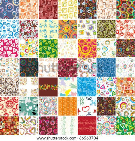 Big set stylish seamless wallpapers - stock vector