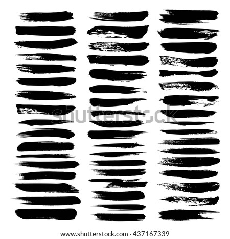 Big set texture strokes thick black gouache paint isolated on a white background