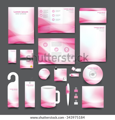 Big set trifold flyer brochure business stock vector royalty free big set trifold flyer brochure business card letter head envelope stationery mug hang tag background template reheart Gallery