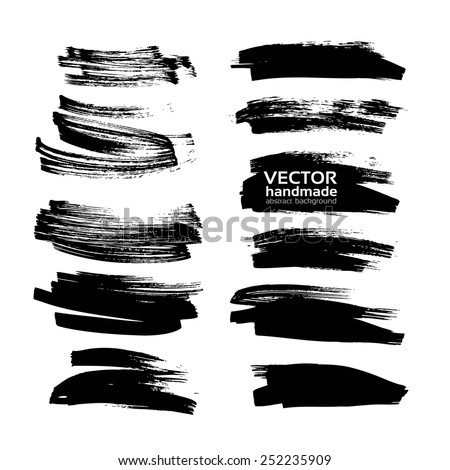 Big set vector drawing a clear black smears thick black ink on white paper - stock vector