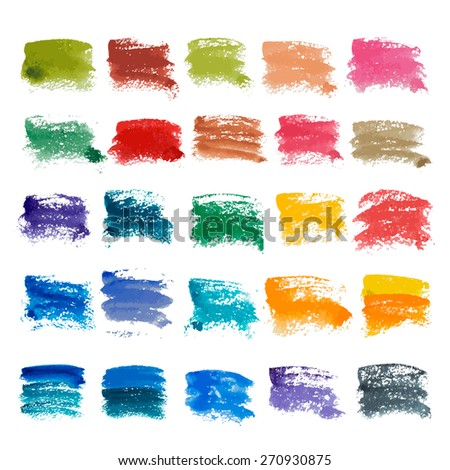 Big set  watercolor of grunge brush strokes. Vector elements for your design.