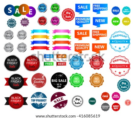 Big set with different labels and badges. Premium quality, big sale, free, top product, new etc.