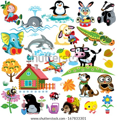 big set with pictures for babies and little kids.Cartoon images isolated on white background.Children illustration - stock vector