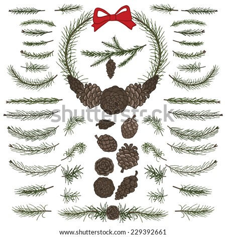 Big  set with pine,spruce branches ,cones,group,border.Modern flat decor elements for invitations,print,feb,card,banner. Easy make brushes,wreath, garland.Christmas festive vector,nature illustration. - stock vector