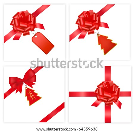 Big set with red bows with cards. Vector illustration. - stock vector
