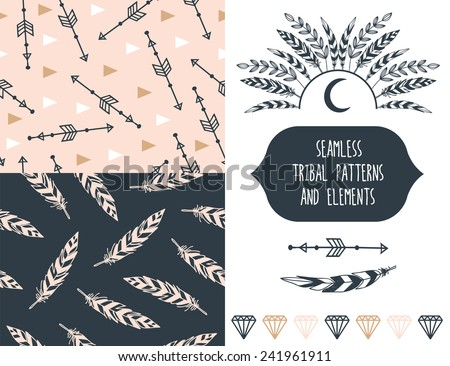 Big set with seamless tribal patterns and elements. - stock vector