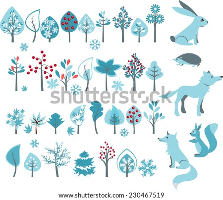 Big set with winter trees and forest animals - wolf,fox,hedgehog,squirrel. Vector illustration. - stock vector