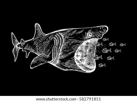 Shark and small fish shutterstock for Big fish printing