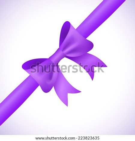 Big shiny purple bow and ribbon on white background. Vector illustration for your holiday gift design. - stock vector