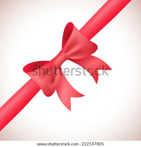 Big shiny red bow and ribbon on white background. Vector illustration for your holiday gift design. - stock vector
