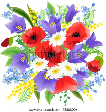 Big spring beautiful bunch flowers poppys stock vector hd royalty big spring beautiful bunch of flowers with poppys daisys and bluebells mightylinksfo Images