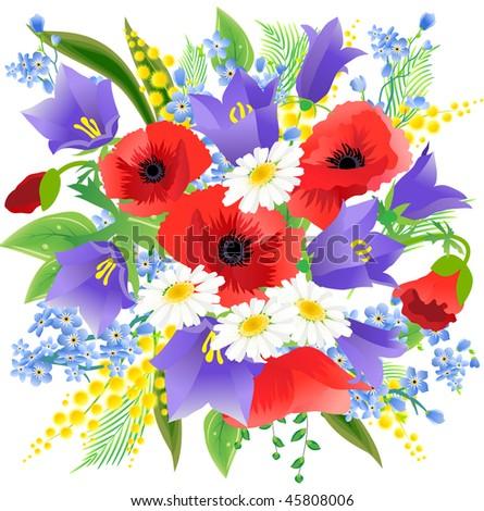 Big spring beautiful bunch flowers poppys stock vector hd royalty big spring beautiful bunch of flowers with poppys daisys and bluebells mightylinksfo