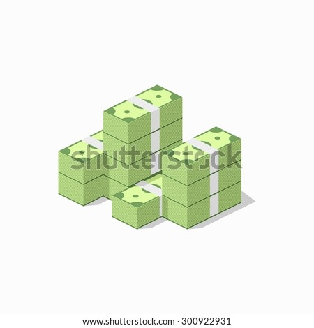Big stacked pile of cash. Flat style - stock vector