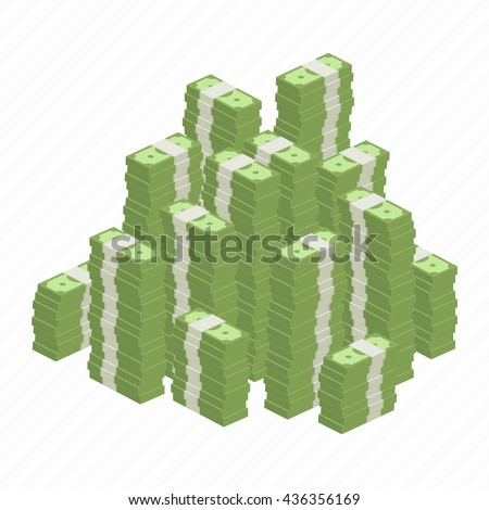 Big stacked pile of cash. Hundreds of dollars in flat style isometric illustration. Big money concept. Stacked pile of hundred us dollar cash. Big pile of cash. - stock vector