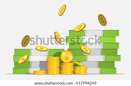 Big stacked pile of cash money and some gold coins. Coin Falls. Flat style cash money illustration. - stock vector