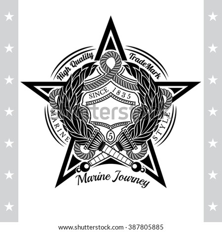 Big Star in Center And Two Torch Cross Inside. Sea Vintage Black Label Isolated On White - stock vector