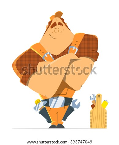 Big strong man repairman locksmith or handyman worker. Color vector illustration.