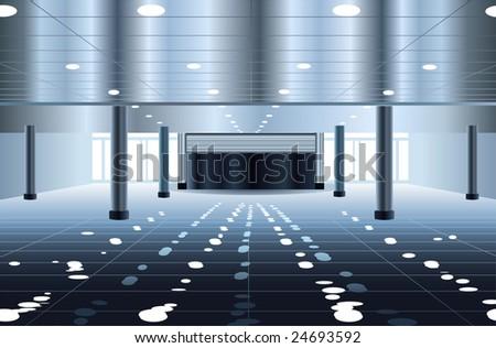 big subway hall interior vector - stock vector
