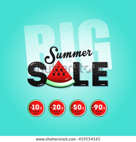 Big summer sale with a piece of watermelon, banner and stickers with percent discounts. Layout for seasonal clearance. It can be used in advertising, web design, graphic design. Vector illustration.